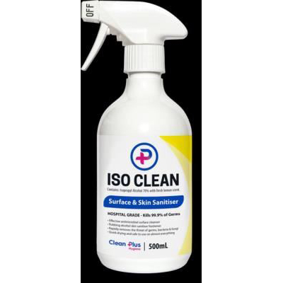 plastic iso clean spray bottle with a white-and-yellow label