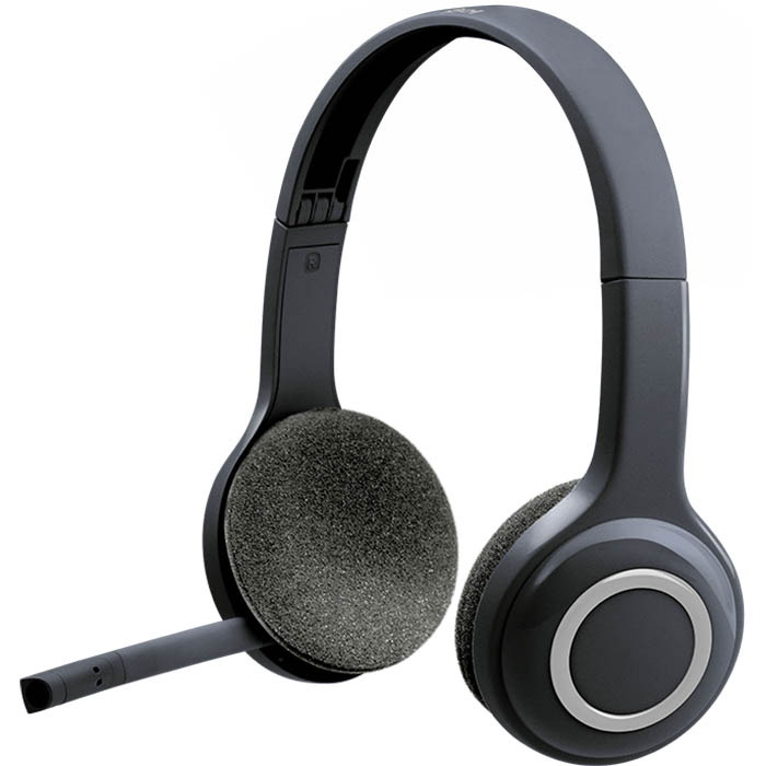 a black wireless headset with a microphone