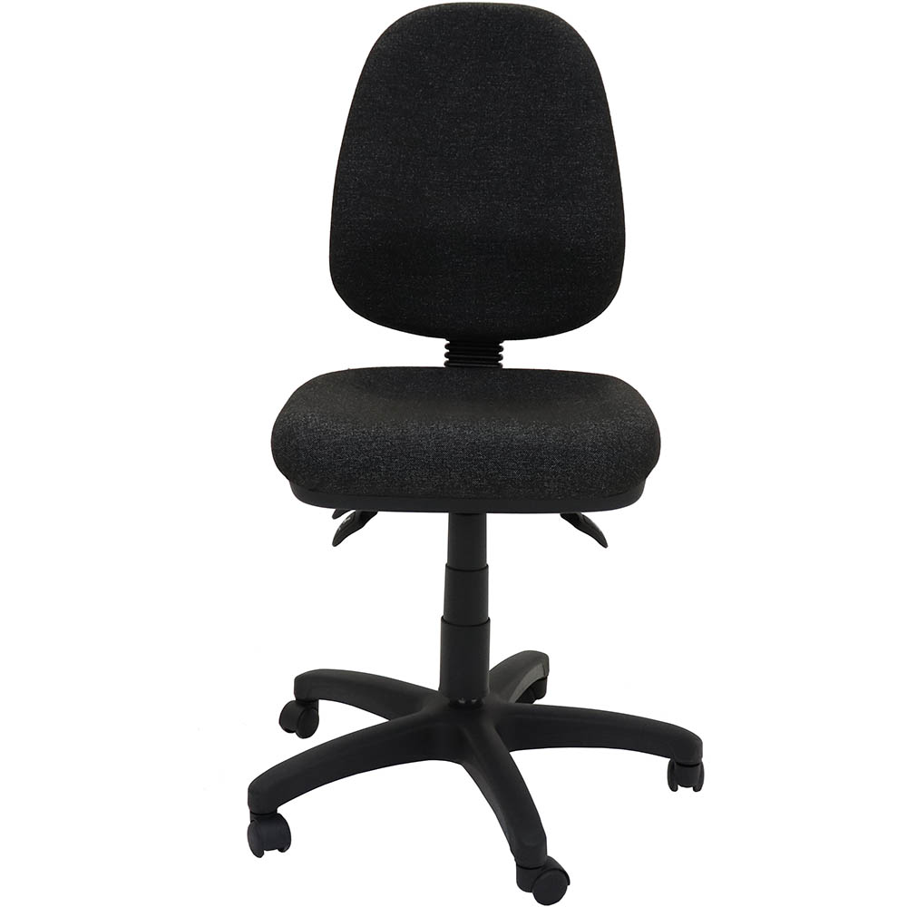 a black high back chair with a moulded dual density foam seat