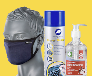 banner of a face mask on a mannequin head, an air duster can, and hand sanitiser gel on a yellow background