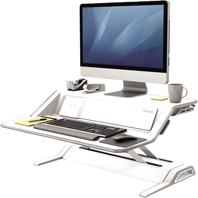 adjustable height workstation, which is placed on your fixed height desk, has built in wireless charging and USB connectivity
