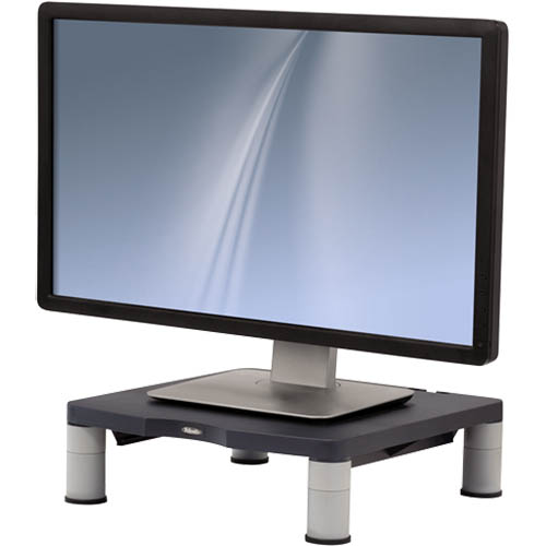 monitor riser with a monitor standing on it