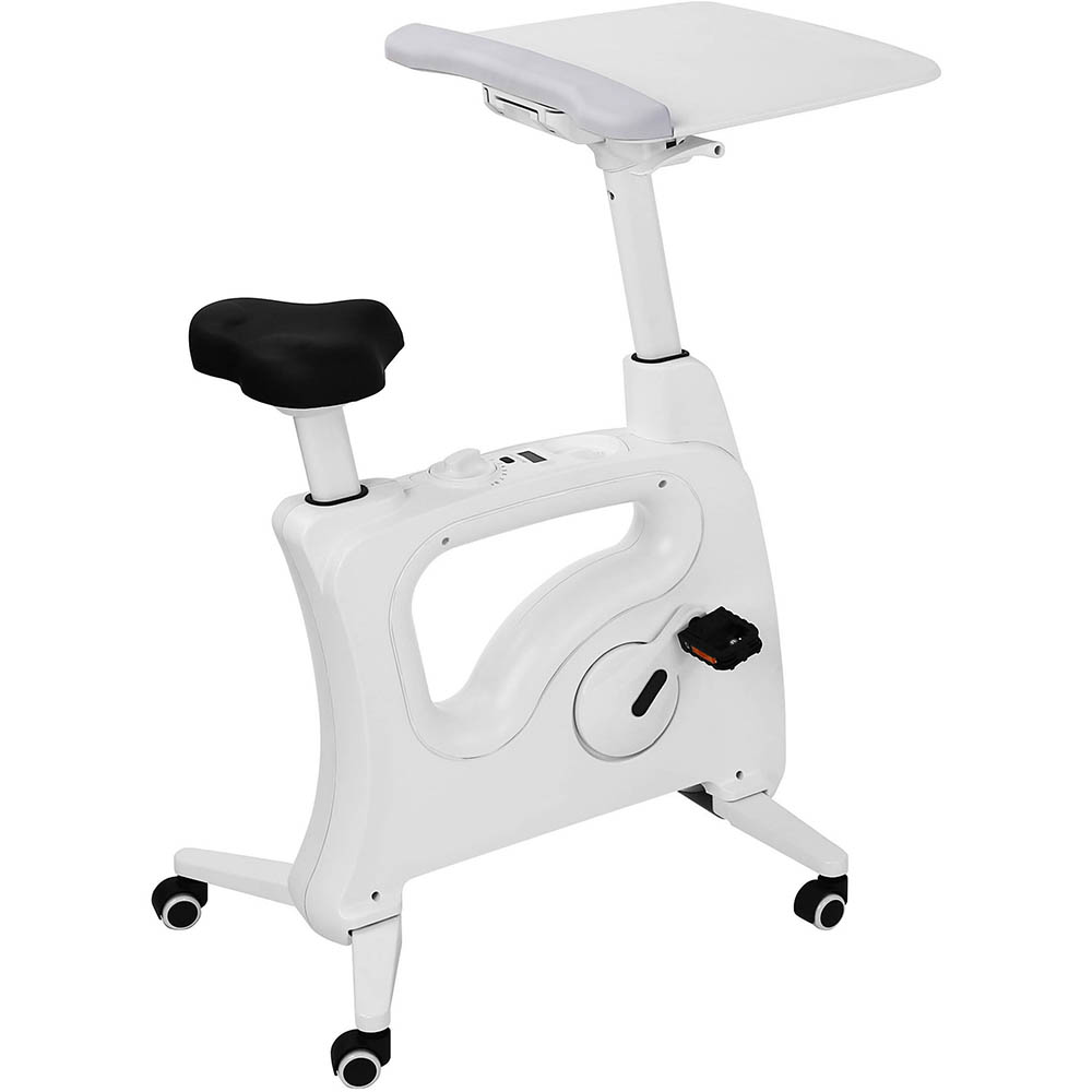 white spin desk bike with a laptop tray