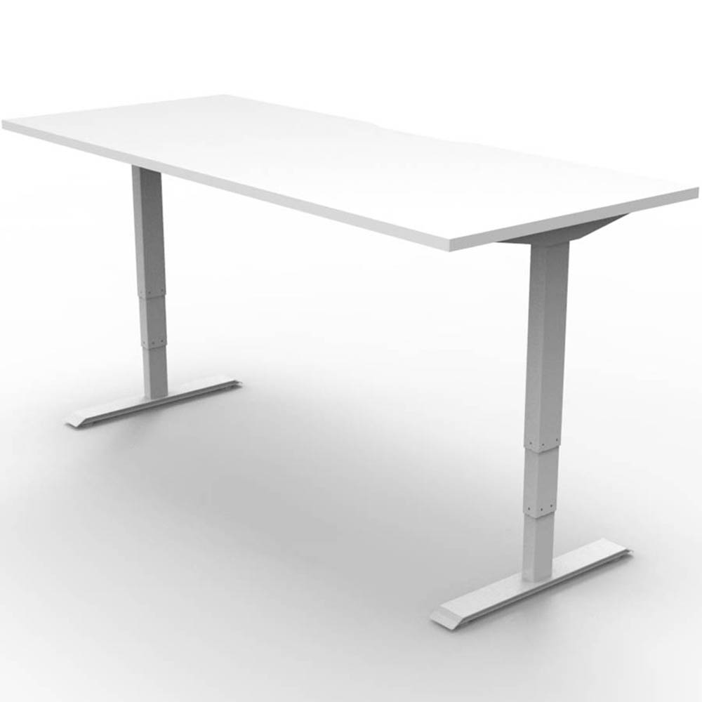 white adjustable height desk with 2 motors