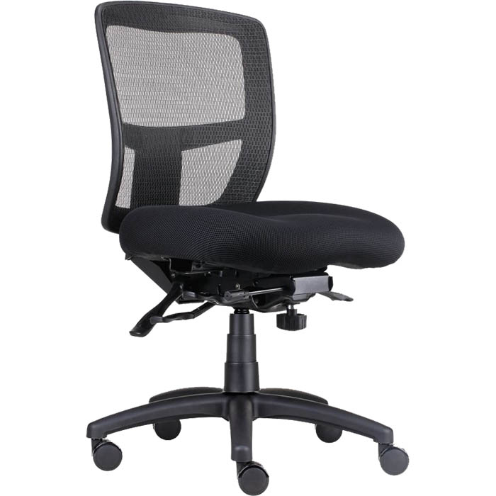 a black ergonomic chair with a mesh back and 3 levers