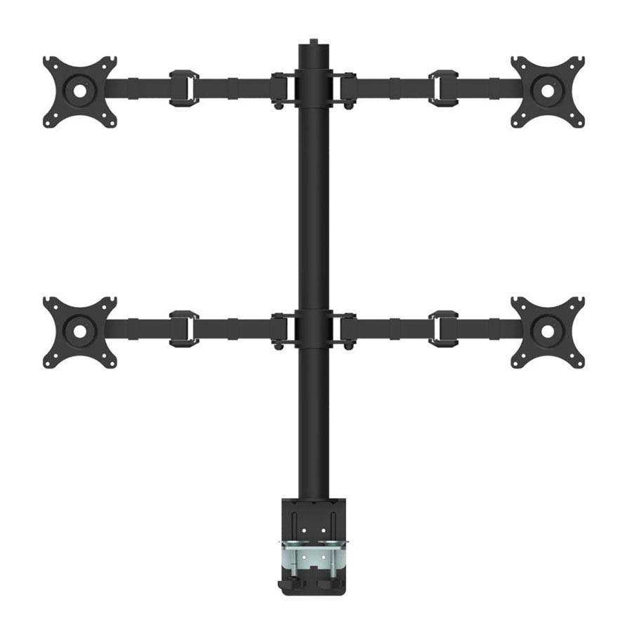 a black monitor mount with four arms