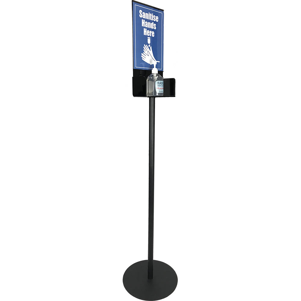 a black stand with space for an a4 size paper sign and a sanitiser gel bottle