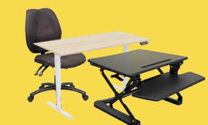 a comfortable office chair, a laptop table, and an adjustable workstation sitting on a yellow background