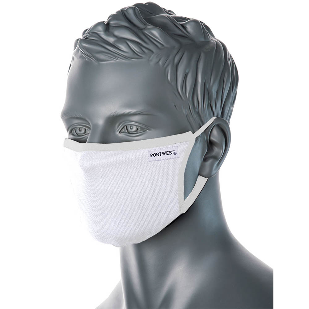 white portwest face mask on a male mannequin head