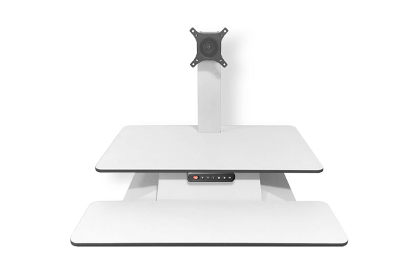 electric height adjustable sit-stand workstation with a separate keyboard that sits at your existing work height