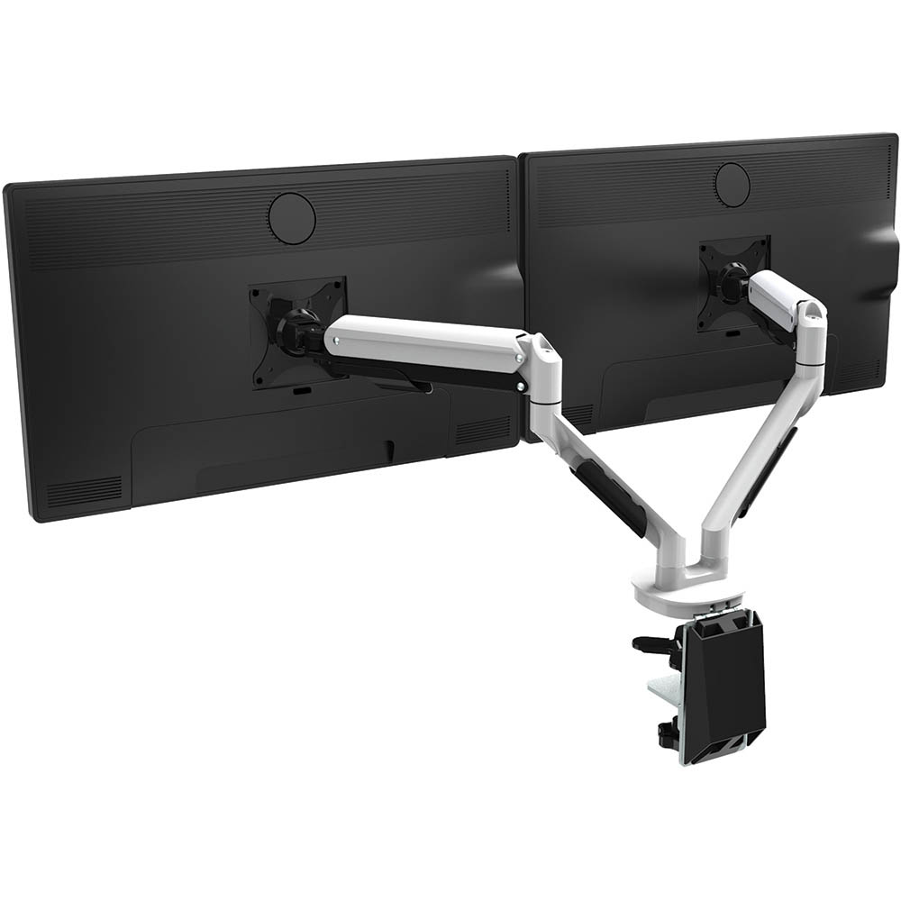 a monitor mount with two arms with two monitors mounted on it