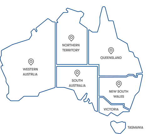 map of australia with waypoint pins in each state