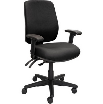 a black high back chair with arms and 3 levers