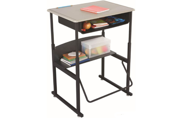 a black adjustable height student desk with a swinging footrest