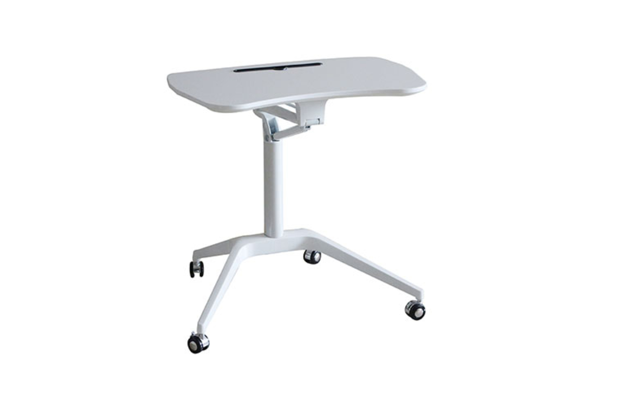 a small white adjustable desk on wheels with enough room for a laptop on it