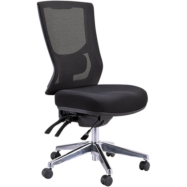 black chair with mesh back, no arms, and 3 levers
