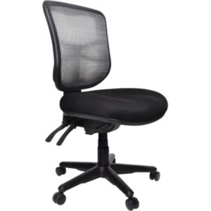 black chair with mesh back and 3 levers