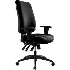 black chair with high back, arms, 3 levers