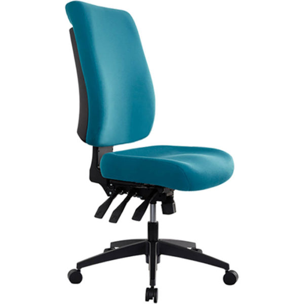 teal chair with high back, no arms, 3 levers