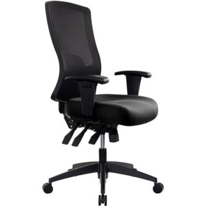 black chair with high mesh back, arms, 3 levers