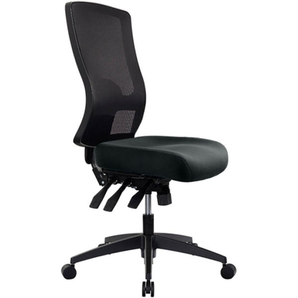 black chair with high mesh back, no arms, 3 levers