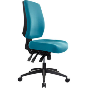 teal chair with medium back, no arms, 3 levers