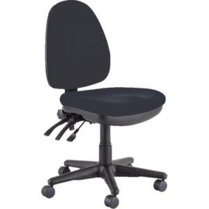 black chair without arms with three levers