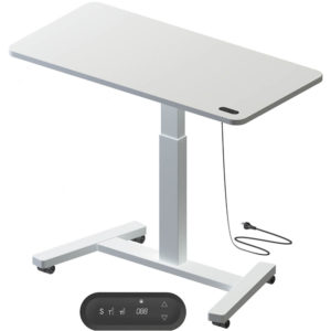 white table with single stem leg and electrically adjustable height