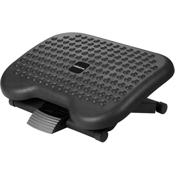black footrest with adjustable angle and height, and non-slip surface