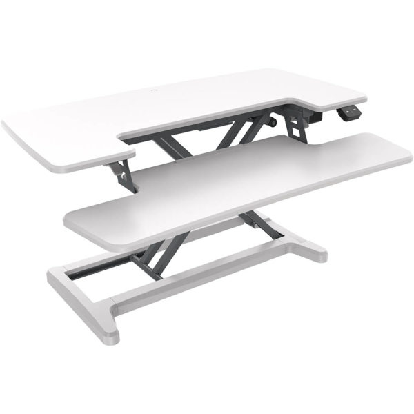 White table with electrically adjustable height