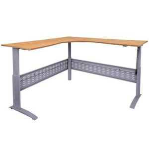 wood colored corner desk with electrically adjustable height