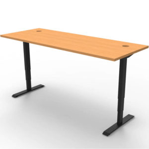 beech colored straight table with adjustable height