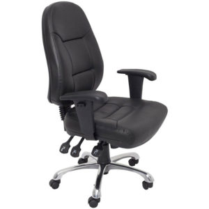 black chair with high back and 3 levers