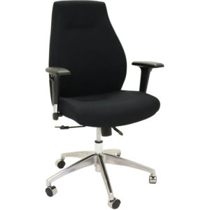 black chair with high back, arms and 2 levers
