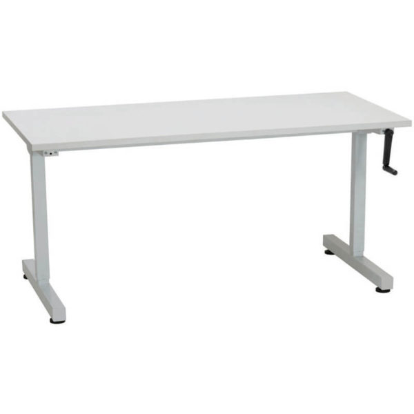 white table with a manually adjustable height