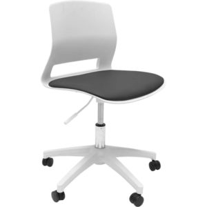 white chair with small back, no arms, and 1 lever