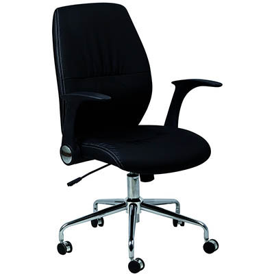 Black chair with medium height back, fold back arms, and 1 lever