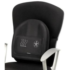 Black back support to be attached to a chairs back rest with heating and cooling gel packs