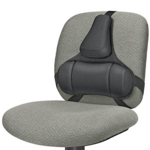 Black foam pillow for back support attached in 3 places on a chair back rest