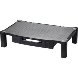 Black extra wide monitor stand with a drawer
